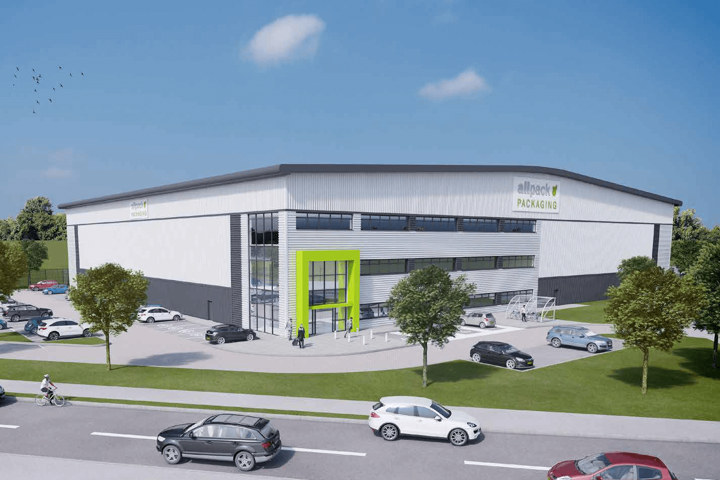 A CGI of the new Allpack headquarters building, totalling 60,000 sq. ft