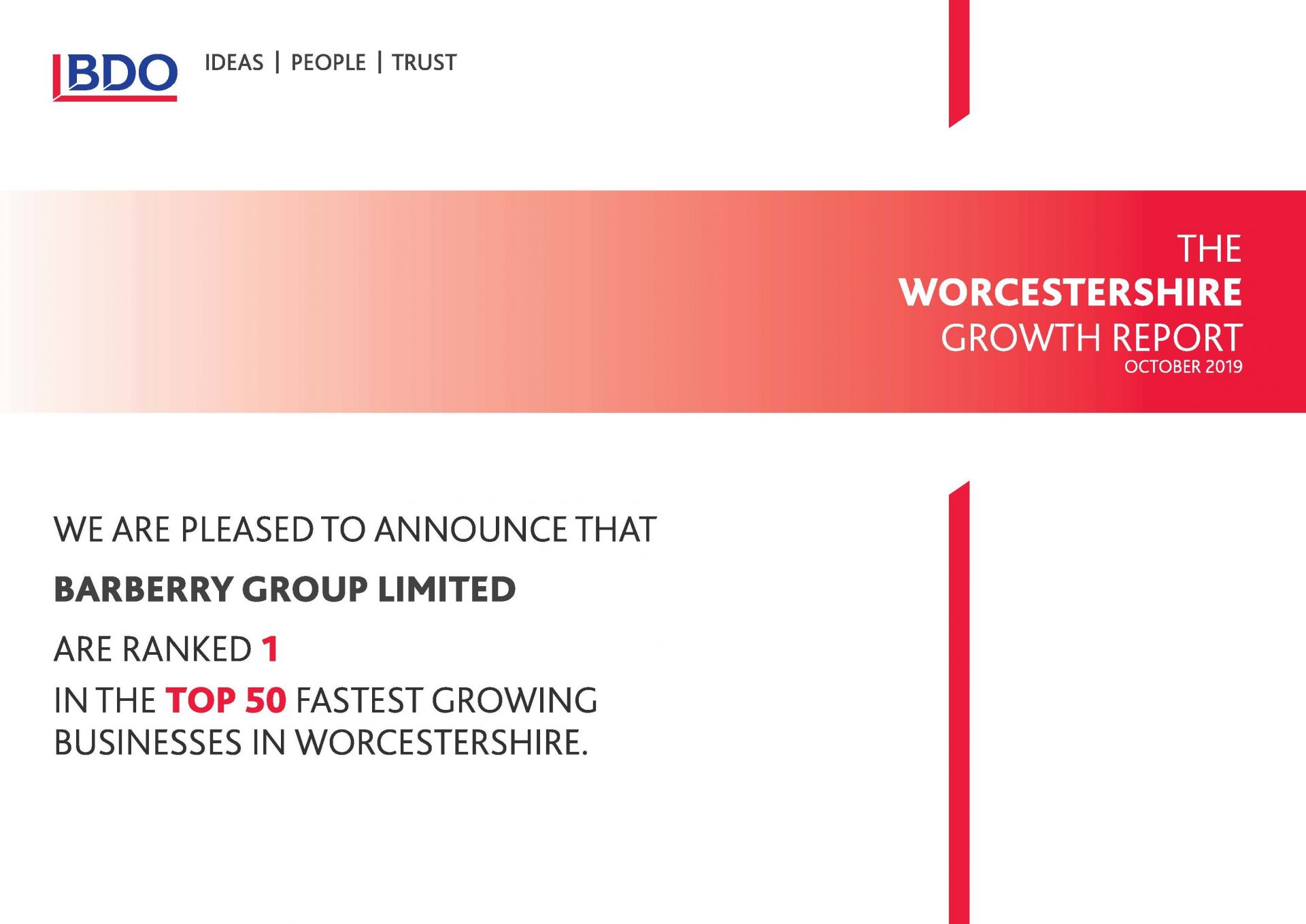 BDO's Worcestershire Growth Report certificate to Barberry Group Ltd as No.1 in the top 50 fastest growing businesses in Worcestershire