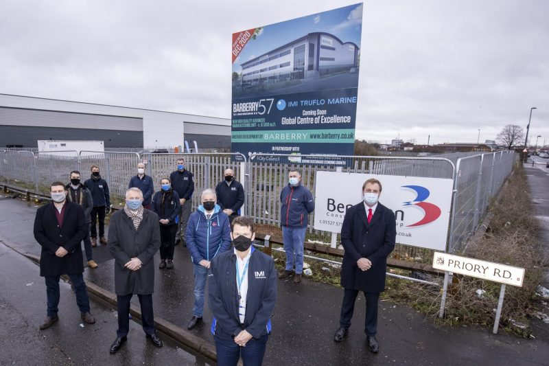 Pictured (front row, from left) are Jonathan Robinson, of Barberry, Nick Rowson-Jones, of IMI, Councillor Ian Ward, of Birmingham City Council, Steve Robins, of IMI, and Charlie Spicer, of Savills.