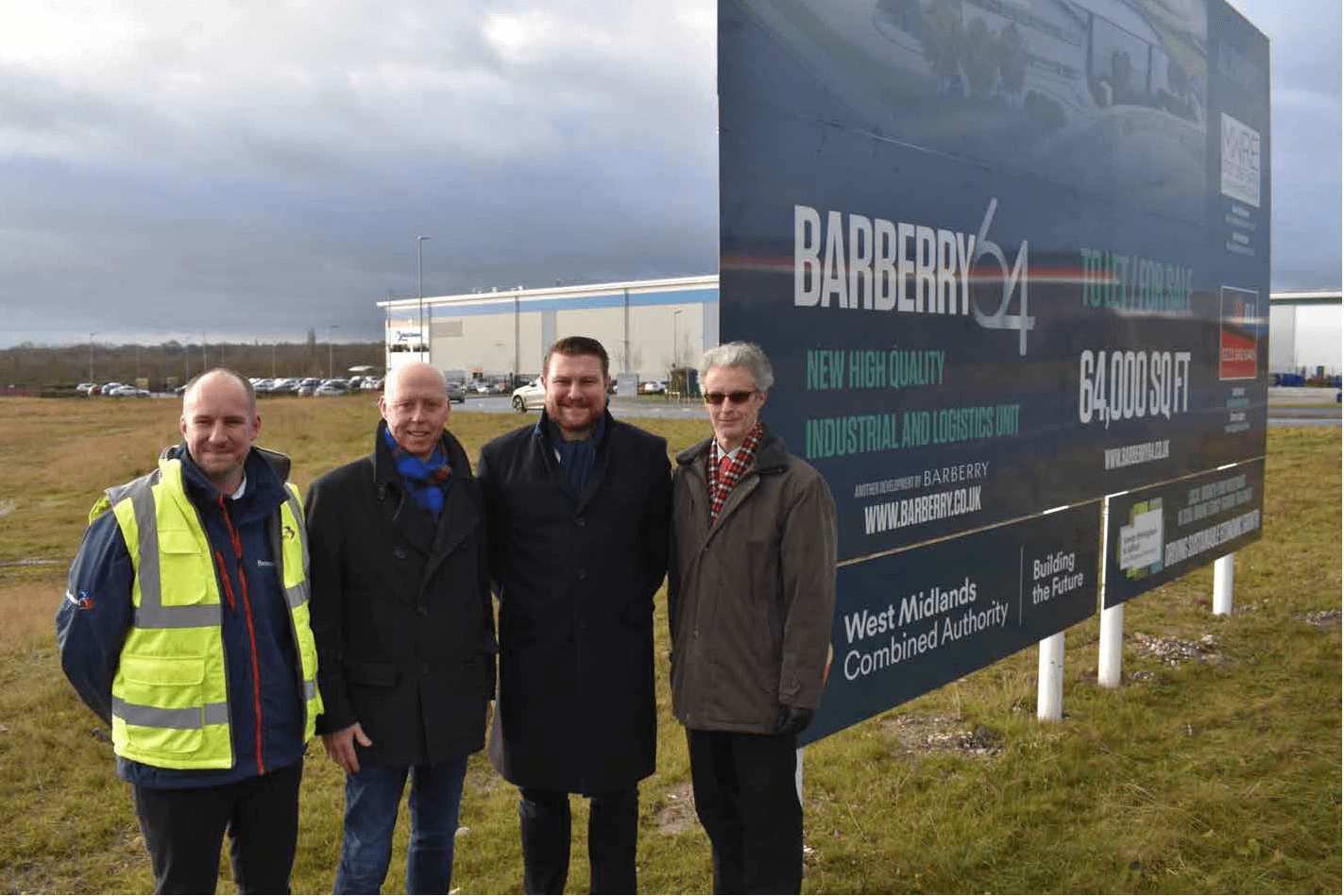 CAPTION: Construction of a 64,000 sq ft warehouse unit is set to start at Kingswood Lakeside Business Park in Cannock. Pictured, from left, are Paul Barfoot, of Benniman, Nick Oakley, head of property finance at Frontier Development Capital, Jon Robinson, development director at Barberry Developments, and Eric Henderson, capital projects manager at Staffordshire County Council.