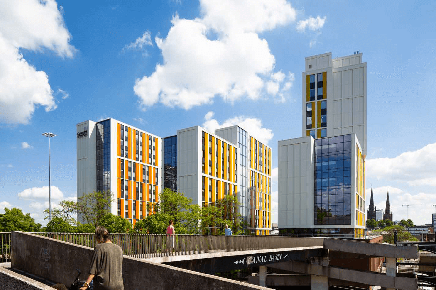 Side view of the Bishop Gate student accommodation scheme